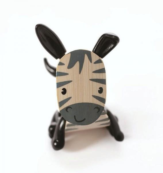 Tierfigur Zebra, aus Bambus und Kunststoff