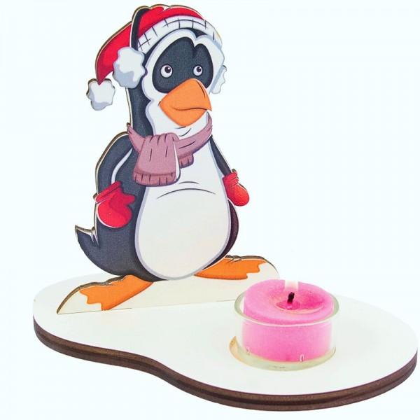 Weihnachtsdeko Pinguin mit Teelicht