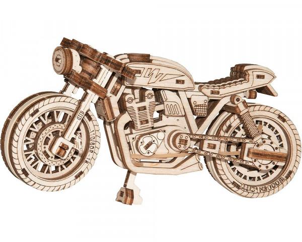Wooden City mechanischer Holzbausatz Motorad: Cafe Racer