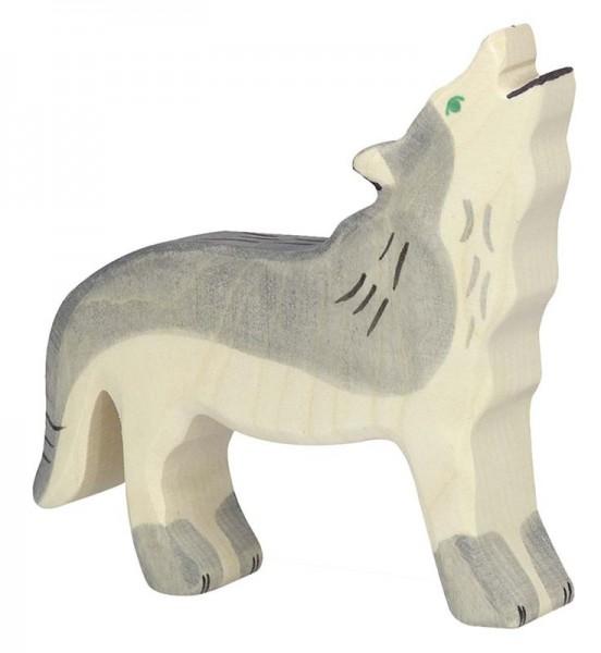Holztiger Spielfigur Wolf, heulend