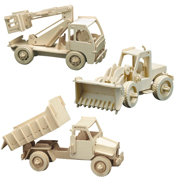 PB-Hobbyset Baufahrzeuge, 3er Set Holzbausätze