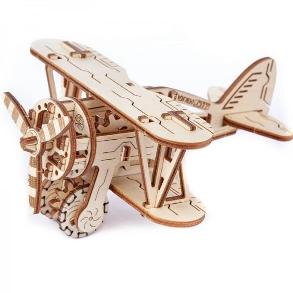 Wooden City mechanischer Holzbausatz Doppeldecker-Flugzeug mit Gummimotor