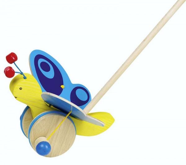 Schiebetier Schmetterling, gelb mit blauen Flügeln, Holz