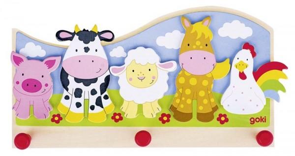 Garderobe Tiere auf dem Bauernhof, aus Holz