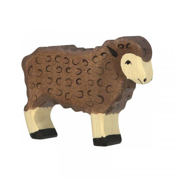 Holztiger Spielfigur Schaf, stehend, schwarz