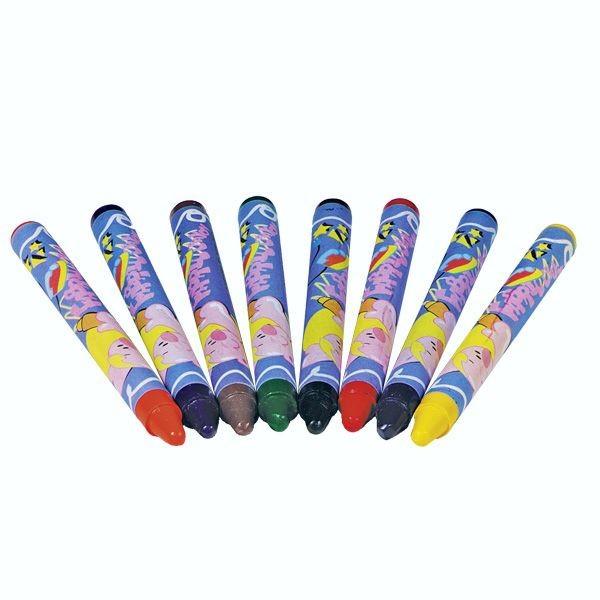 Textilstifte, 8 bunte Wachsmalstifte für Holz und Textil