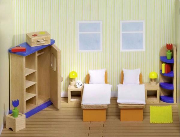 Puppenmöbel Schlafzimmer, 21 Teile aus Holz