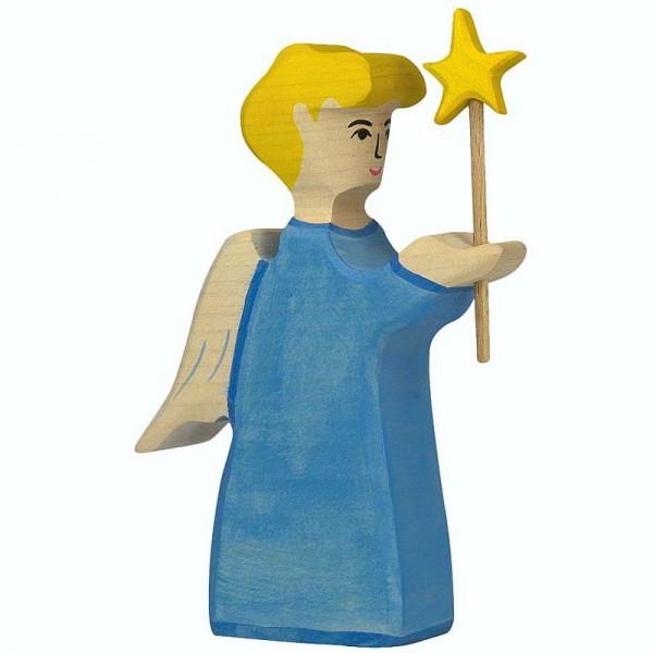 Holztiger Krippenfigur Engel mit Stern