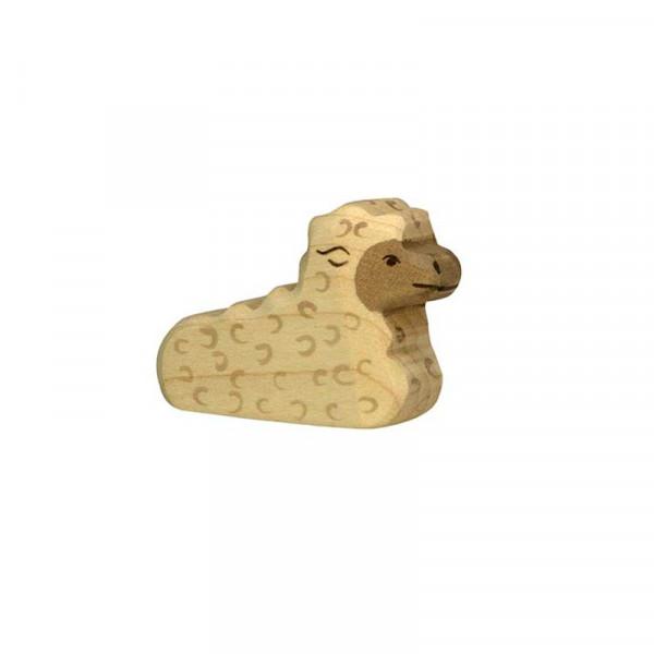 Holztiger Spielfigur Lamm, liegend