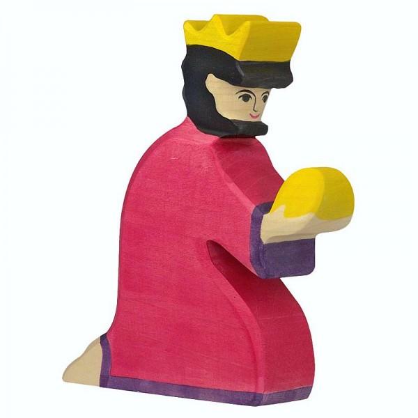 Holztiger Krippenfigur Balthasar, rot
