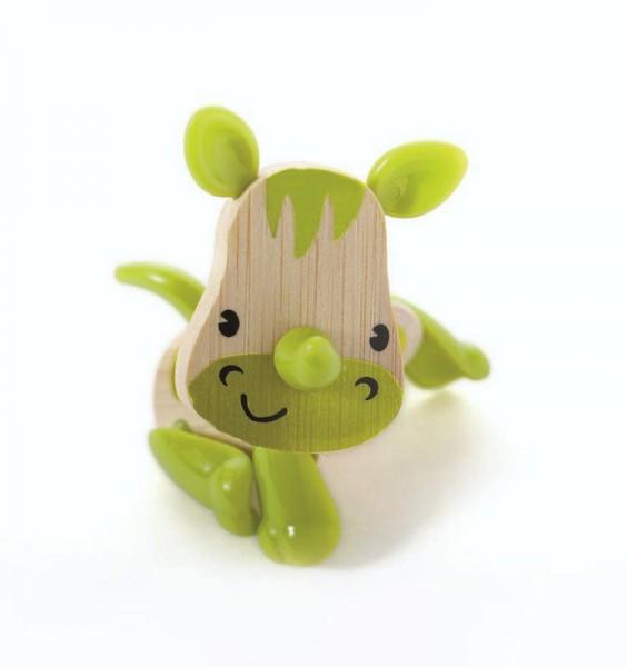 Tierfigur Nashorn, aus Bambus und Kunststoff