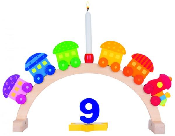 Goki Geburtstagsbogen Mein kleiner Zug, 5 Anhänger, Holz