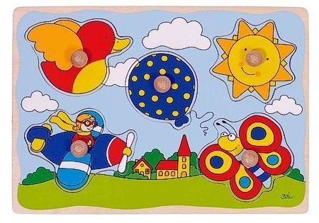 Goki Steckpuzzle aus Holz, Luftballon, Sonne, ...