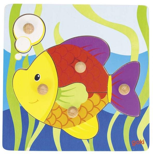Goki Steckpuzzle Fisch, 5-teilig, Holz