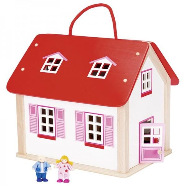 Koffer Puppenhaus mit Zubehör, 24 Teile, Holz