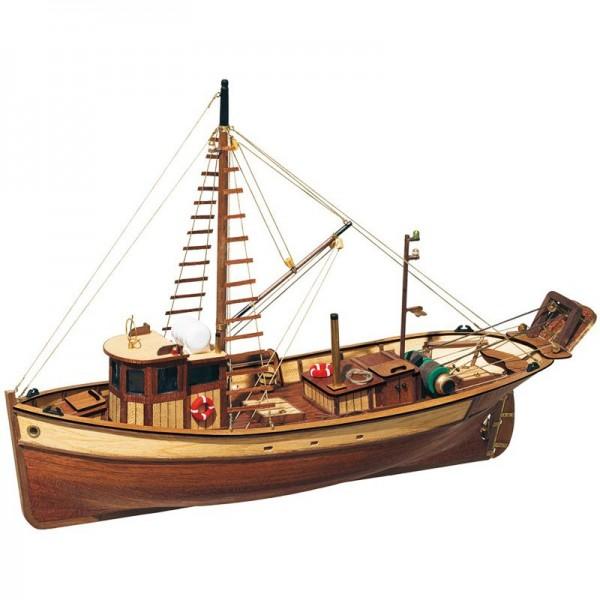 Schiffsbausatz Fischkutter Palamos, aus Holz im M 1:45