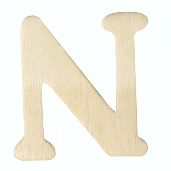 Holz-Buchstabe N, 4 cm