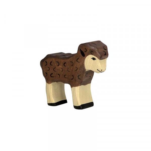 Holztiger Spielfigur Lamm, schwarz