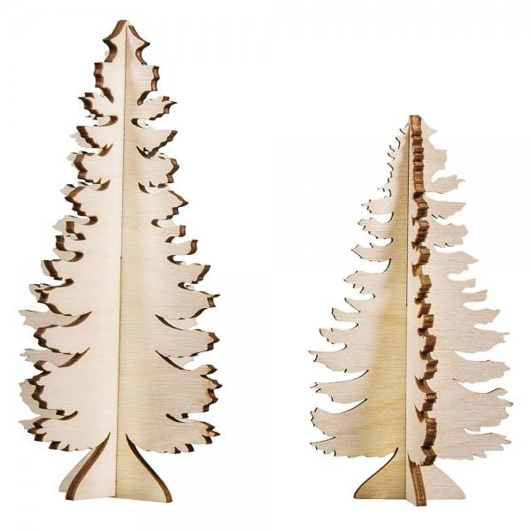 Holzsteckteile, Holzbäume Fichten, 2 Stück