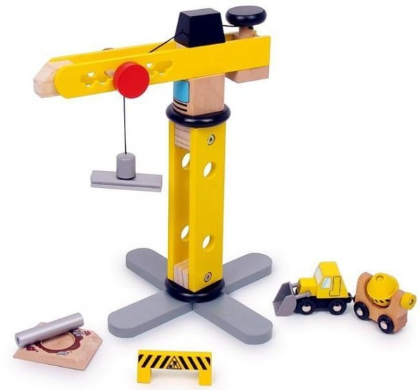 Holzspielzeug Lastenkran mit Zubehör