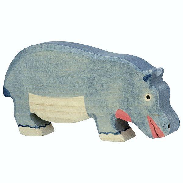 Holztiger Spielfigur, Nilpferd, fressend