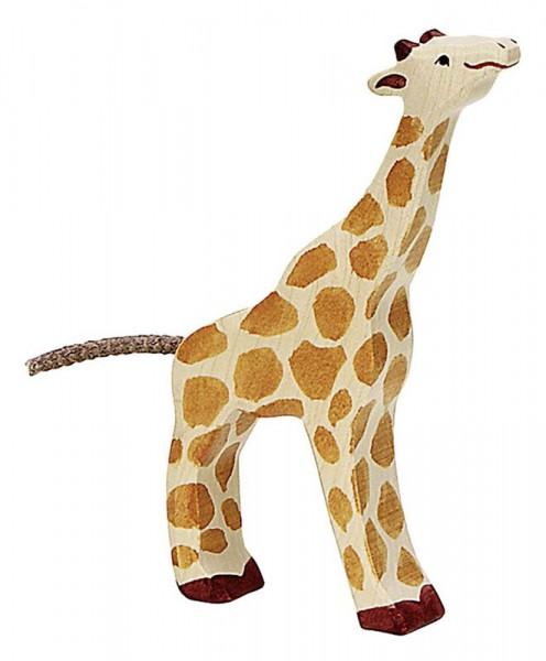 Holztiger Spielfigur Giraffe, klein, fressend