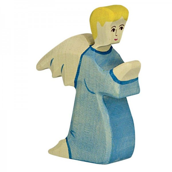 Holztiger Krippenfigur Engel 2, blau