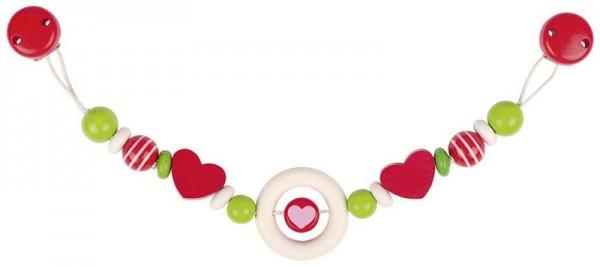 Kinderwagenkette Herz mit Clips, Holz