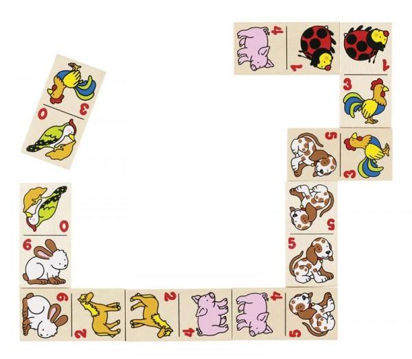 Dominospiel Tiermotive, 28 Teile im Holzschuber