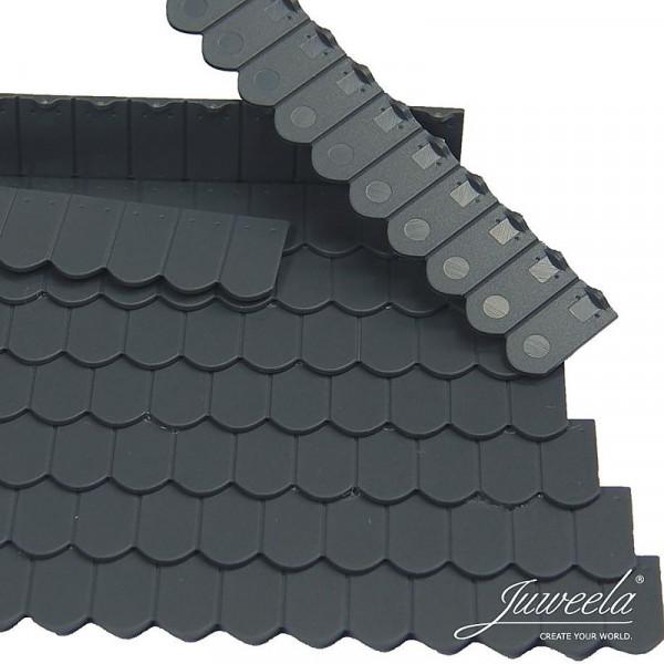 Miniaturdachziegel, Flachziegel Biberschwanz Rundschnitt antrazit, 9 x 12 Stk.