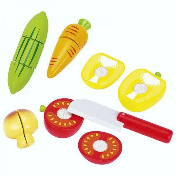 Gemüse mit Klettverbindung, Schneidspielzeug aus Holz