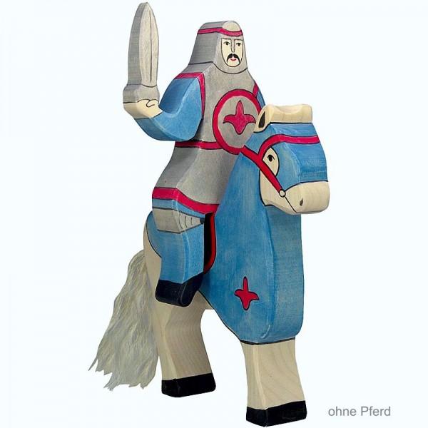 Holztiger Spielfigur Blauer Ritter, reitend (ohne Pferd)