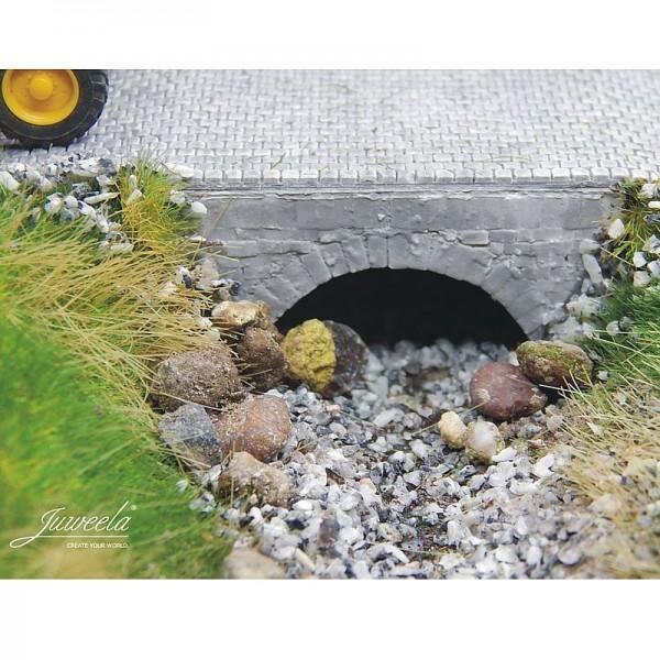 Wasserdurchlaß mittel, grau, Modelleisenbahn H0, M1:87, 3 Stück, Keramik