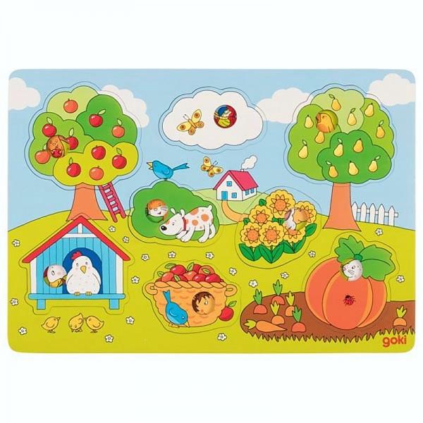 Hintergrundbildpuzzle Im Garten, Holz, 8 Teile