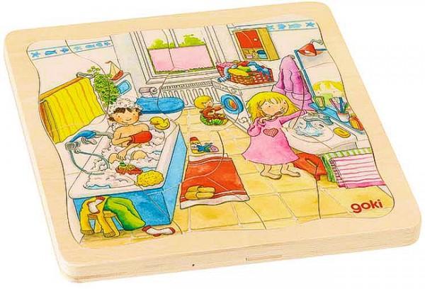 Goki Schichtenpuzzle mit 4 Lagen, Mein Tag, Holz