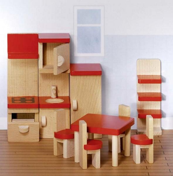 Puppenmöbel Küche basic, 9 Teile aus Holz