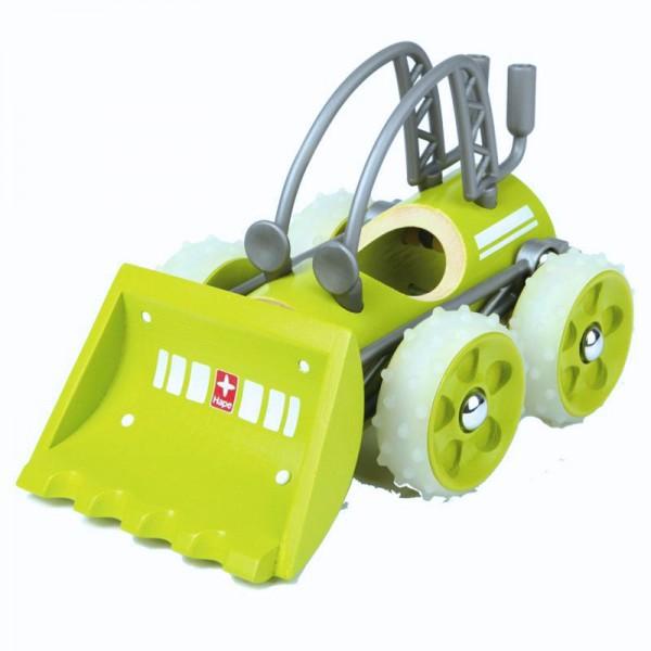 e-Dozzer Spielzeugauto aus Bambus und Kunststoff