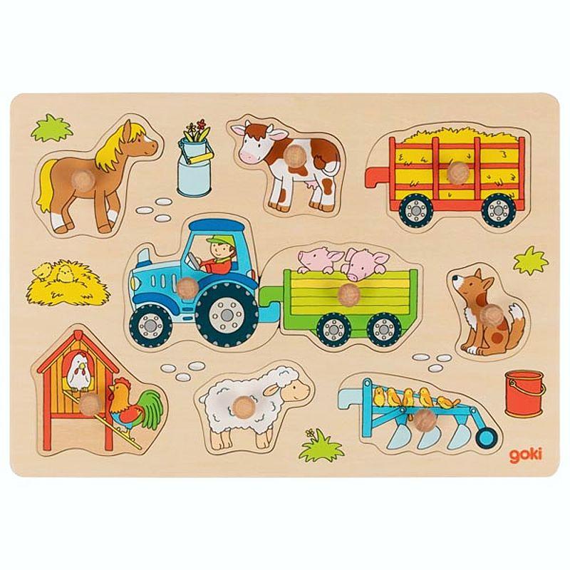 Steckpuzzle Traktor mit Anhängern, ab 1 Jahr, aus Holz ...