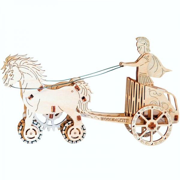 Wooden City mechanischer Holzbausatz römischer Streitwagen
