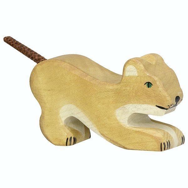 Holztiger Spielfigur, Löwe, klein, spielend