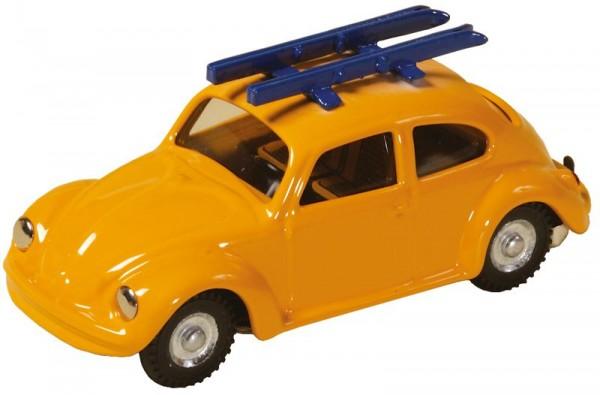 Blechspielzeug VW Käfer mit Skiern