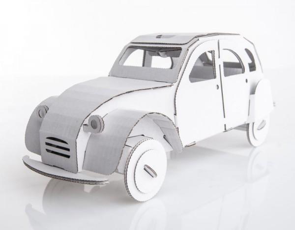 Modellauto Ente, Kartonbausatz, weiß