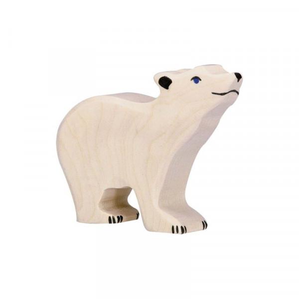 Holztiger Spielfigur Eisbär klein, Kopf hoch