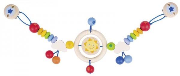 Kinderwagenkette Sonne, mit Clips, aus Holz