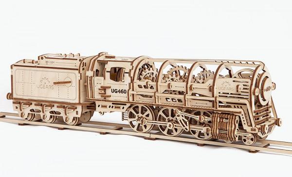 Ugears mechanischer Holzbausatz Dampflokomotive 460 mit Tender