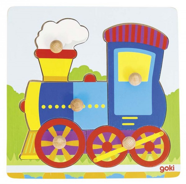 Goki Steckpuzzle Lokomotive, 5-teilig, Holz