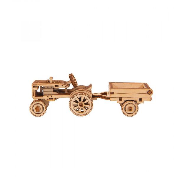 Wooden City Superfast, 3D Holzbausatz Work Horse 3 Classic Tractor + Trailer