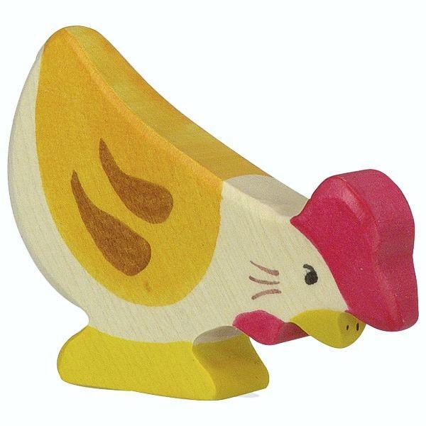 Holztiger Spielfigur Huhn, pickend