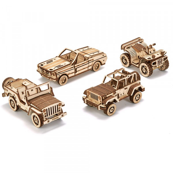 Wood Trick: Set of Cars, Fahrzeug - Holzbausätze im 4er-Set