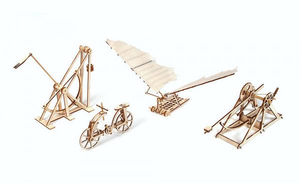 Holzbausatz, Modellbausatz mit vier Maschinen nach Leonardo Da Vinci, 4er Set, lasercut vorgefertigt